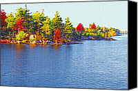 Picturesque Mixed Media Canvas Prints - 1000 Island Scenes 6 Canvas Print by Steve Ohlsen
