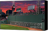 Fenway Park Digital Art Canvas Prints - 100190 Green Monster Fenway Park Canvas Print by MacJac