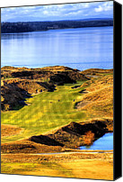 Golf Course Canvas Prints - 10th Hole at Chambers Bay Canvas Print by David Patterson
