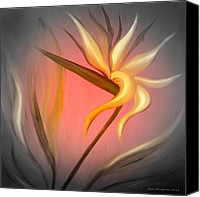 Realistic Art Canvas Prints - Bird of Paradise Canvas Print by Gina De Gorna