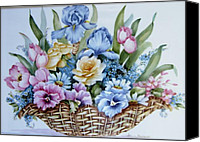 Signed Ceramics Canvas Prints - 1119 b Flower Basket Canvas Print by Wilma Manhardt