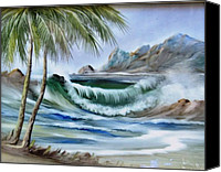 Beach Ceramics Canvas Prints - 1132b Waterwave Scene Canvas Print by Wilma Manhardt
