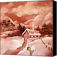 Mountain Scene Ceramics Canvas Prints - 1140b Winter Scene Canvas Print by Wilma Manhardt
