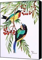 Birds Ceramics Canvas Prints - 1152 Little Birds And Berries Canvas Print by Wilma Manhardt