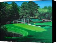 Augusta Golf Painting Canvas Prints - 11th Hole Canvas Print by Jennifer Hotai