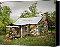 Log Cabins Canvas Prints - 1209-1144 Historic Villines Homestead Canvas Print by Randy Forrester