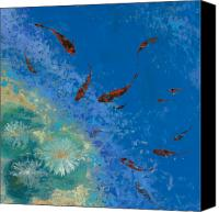 Fish Canvas Prints - 13 Pesciolini Rossi Canvas Print by Guido Borelli