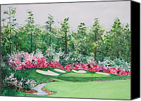 Augusta Golf Painting Canvas Prints - 13th at Augusta Canvas Print by Sandra Norris