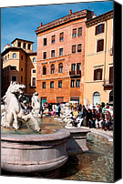 Rome Canvas Prints - Piazza Navona in Rome Canvas Print by George Atsametakis