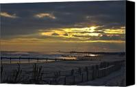 Kevin Sherf Canvas Prints - 14th Street Fishing pier Canvas Print by Kevin  Sherf