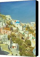 Carefree Canvas Prints - Oia - Santorini Canvas Print by Joana Kruse