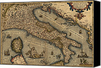 Neptune Canvas Prints - 1570 Map Of Italy  From Abraham Canvas Print by Everett