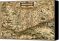 Vampires Canvas Prints - 1570 Map Of Transylvania, Now Canvas Print by Everett
