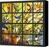 Collage Canvas Prints - 16 Birds Canvas Print by Jennifer Lommers