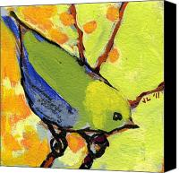 Lime Painting Canvas Prints - 16 Birds No 2 Canvas Print by Jennifer Lommers
