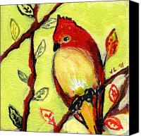 Lime Painting Canvas Prints - 16 Birds No 3 Canvas Print by Jennifer Lommers