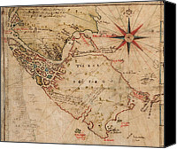 Fuego Canvas Prints - 1630 Map Of Strait Of Magellan Canvas Print by Everett