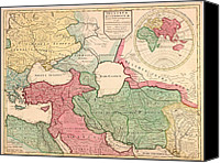 Persia Canvas Prints - 1712 French Map Of Southwest Asia Canvas Print by Everett