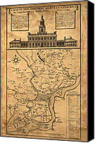 Independence Hall Canvas Prints - 1752 Philadelphia Map Canvas Print by Bill Cannon