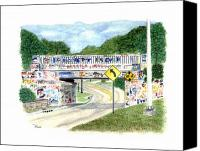 Florida Bridge Painting Canvas Prints - 17th Avenue Graffiti Bridge Canvas Print by Richard Roselli
