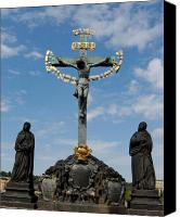 Charles Bridge Canvas Prints - 17th Century Crucifix Charles Bridge Prague Czech Republic Canvas Print by Wayne Higgs