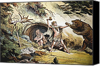 Schubert Canvas Prints - 1888 Caveman Vs Pleistocene Cave Bear B Canvas Print by Paul D Stewart