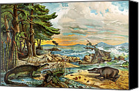 Schubert Canvas Prints - 1888 Colour Lithograph Of Triassic Coast Canvas Print by Paul D Stewart