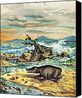 Schubert Canvas Prints - 1888 Giant Amphibian Of Triassic Coast Canvas Print by Paul D Stewart