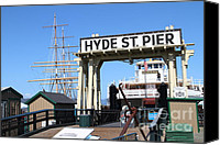 Hyde Street Pier Canvas Prints - 1890 Steam Ferryboat Eureka At The Hyde Street Pier in San Francisco California . 7D14119 Canvas Print by Wingsdomain Art and Photography