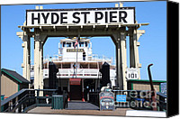 Hyde Street Pier Canvas Prints - 1890 Steam Ferryboat Eureka At The Hyde Street Pier in San Francisco California . 7D15115 Canvas Print by Wingsdomain Art and Photography