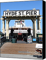 Hyde Street Pier Canvas Prints - 1890 Steam Ferryboat Eureka At The Hyde Street Pier in San Francisco California . 7D15117 Canvas Print by Wingsdomain Art and Photography