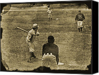 Batter Digital Art Canvas Prints - 1890s Baseball Canvas Print by John Haldane