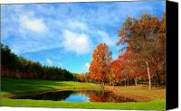 Fall Foliage Artwork Canvas Prints - 18th Hole Par3 Canvas Print by Robert Pearson