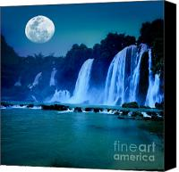 Moonlight Canvas Prints - Waterfall Canvas Print by MotHaiBaPhoto Prints