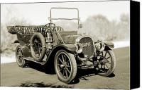 Antique Automobiles Canvas Prints - 1910 Pope Hartford T Black and White 2 Canvas Print by Jill Reger