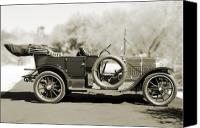 Antique Automobiles Canvas Prints - 1910 Pope Hartford T Black and White Canvas Print by Jill Reger