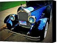 Blue Buick Canvas Prints - 1927 Blue Buick Canvas Print by Perry Webster