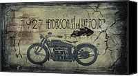 Bike Canvas Prints - 1927 Henderson Vintage Motorcycle Canvas Print by Cinema Photography