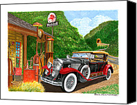 Classic Gas Pumps Canvas Prints - 1929 Cadillac Dual Cowl Phaeton and Pegasus Canvas Print by Jack Pumphrey
