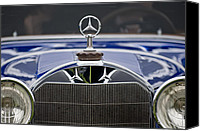 Grille Canvas Prints - 1929 Mercedes Benz S Erdmann and Rossi Cabiolet Hood Ornament Canvas Print by Jill Reger