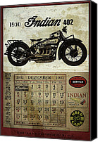 Classic Cars Canvas Prints - 1930 Indian 402 Canvas Print by Cinema Photography
