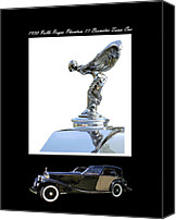 1930 Digital Art Canvas Prints - 1930 Rolls Royce Mascot and car Canvas Print by Jack Pumphrey