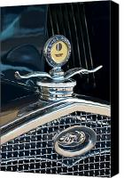 Deluxe Canvas Prints - 1931 Model A Ford Deluxe Roadster Hood Ornament Canvas Print by Jill Reger