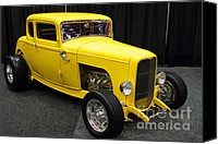 Transportation Tapestries Textiles Canvas Prints - 1932 Ford 5 Window Coupe . Yellow . 7D9275 Canvas Print by Wingsdomain Art and Photography