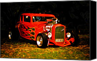 Custom Automobile Canvas Prints - 1932 Ford Coupe Hot Rod Canvas Print by Phil