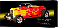 Hotrod Photo Canvas Prints - 1932 Ford Hotrod Canvas Print by Jim Carrell