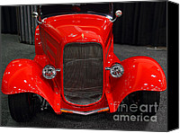 American Car Photography Canvas Prints - 1932 Ford Roadster . Red . 7D9286 Canvas Print by Wingsdomain Art and Photography