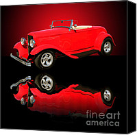 Hotrod Photo Canvas Prints - 1932 Ford V8 Red Roadster Canvas Print by Jim Carrell