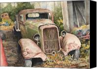 Transportation Painting Canvas Prints - 1934 Dodge Half-Ton Canvas Print by Sam Sidders