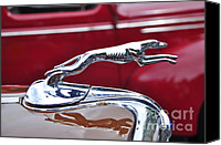 Kaye Menner Car Canvas Prints - 1934 Ford 6 Wheel Equip Hood Ornament Canvas Print by Kaye Menner